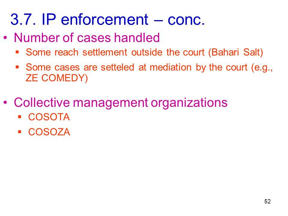 3.7. IP enforcement – conc.