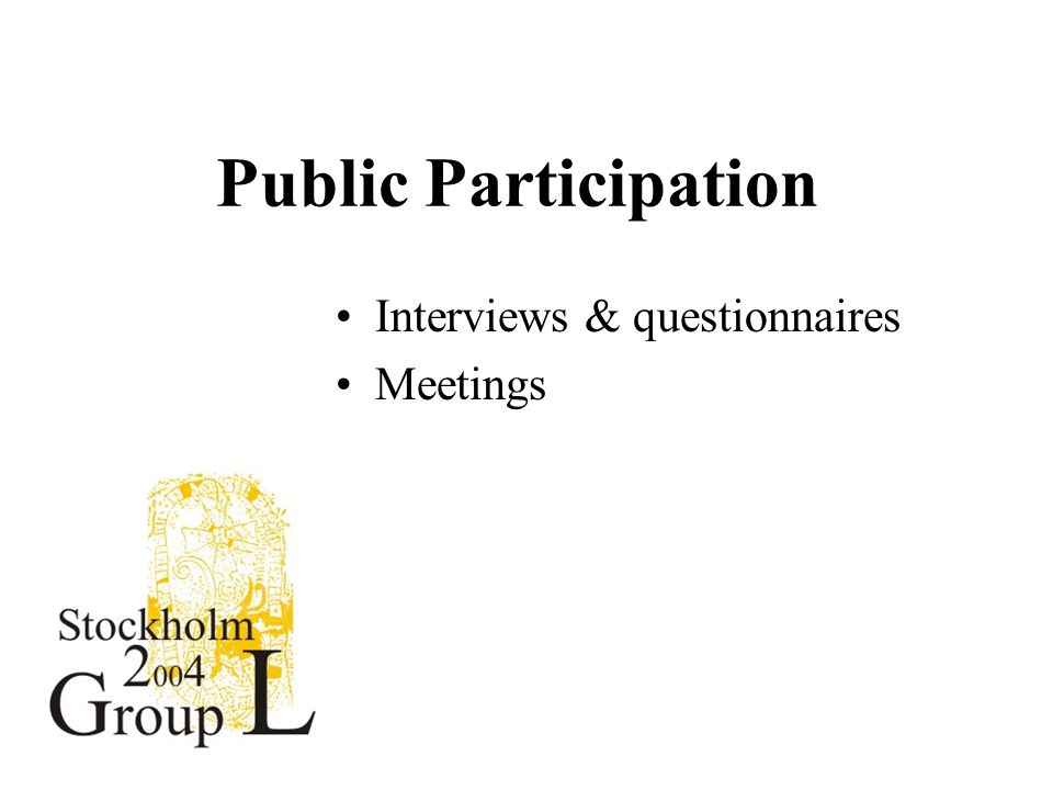 Public Participation Interviews & questionnaires Meetings