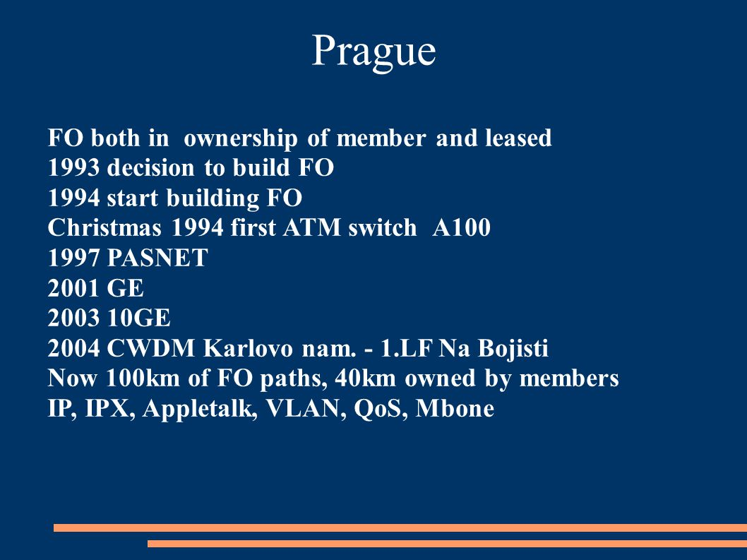 Prague FO both in ownership of member and leased 1993 decision to build FO 1994 start building FO Christmas 1994 first ATM switch A100 1997 PASNET 2001 GE 2003 10GE 2004 CWDM Karlovo nam.