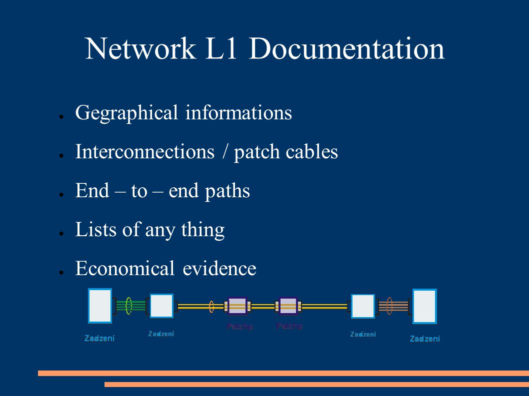Network L1 Documentation ● Gegraphical informations ● Interconnections / patch cables ● End – to – end paths ● Lists of any thing ● Economical evidence