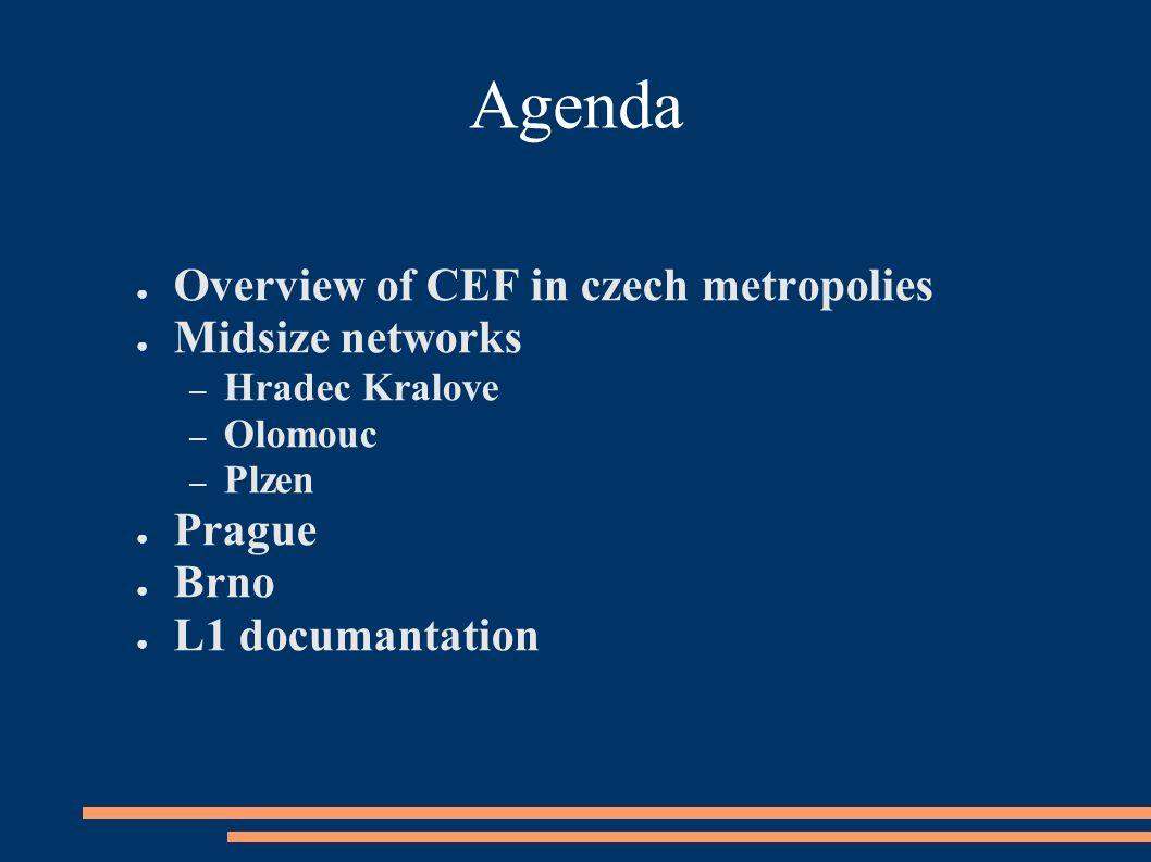 Agenda ● Overview of CEF in czech metropolies ● Midsize networks – Hradec Kralove – Olomouc – Plzen ● Prague ● Brno ● L1 documantation