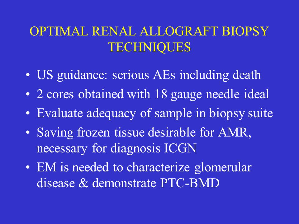 CHRONIC ALLOGRAFT NEPHROPATHY Coined at 1991 Banff Meeting - to recognize multifactorial nature CGD - inability to determine etiology in all cases Widely & variably used to denote a process assumed to have no prev/therapeutic measures Banff 2005 proposed elimination & suggested ISTA-NOS (no evidence of specific pathology)