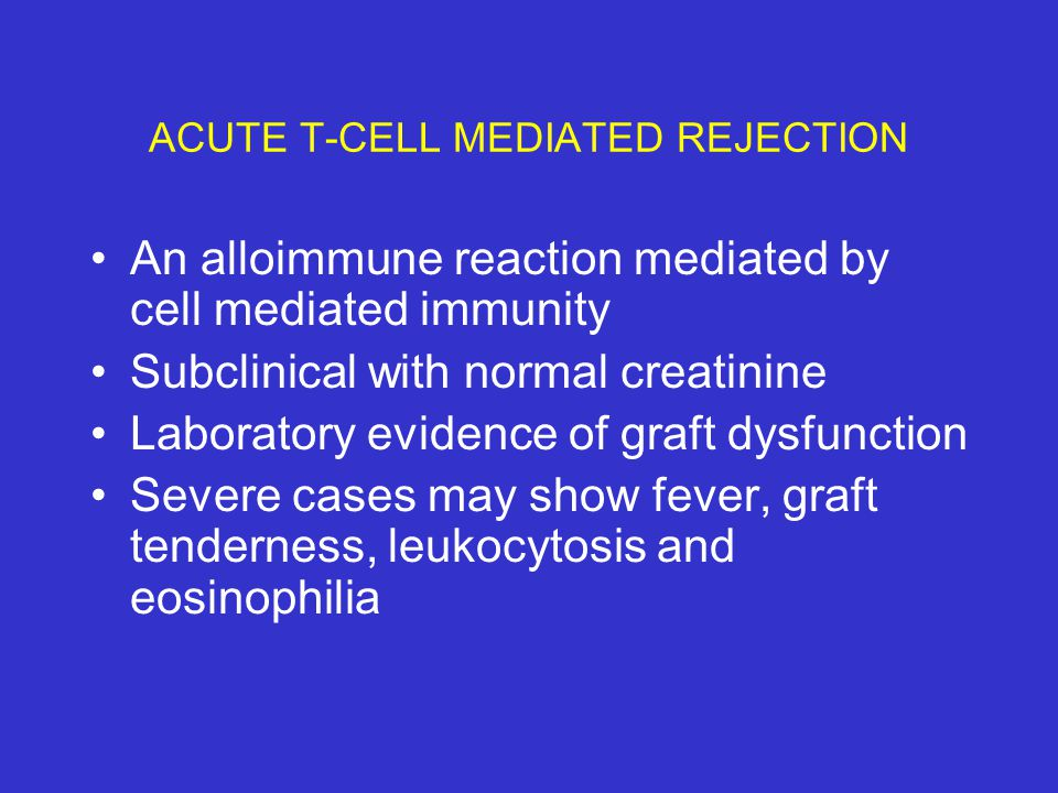 CAUSES OF RENAL ALLOGRAFT DYSFUNCTION REJECTION RELATED CATEGORIES -Acute & chronic Ab mediated rejection -Acute & chronic T-cell mediated rejection NON-REJECTION RELATED CATEGORIES -ATN, CNIT, Infections, GN, Recurrent native disease, donor derived pathology
