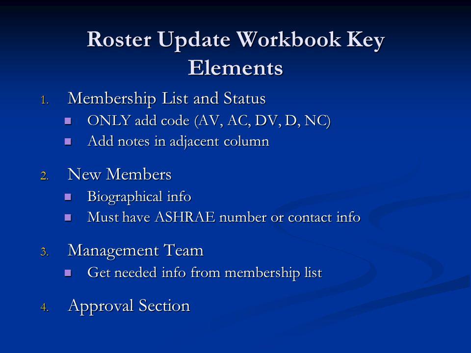 Roster Update Workbook Key Elements 1.