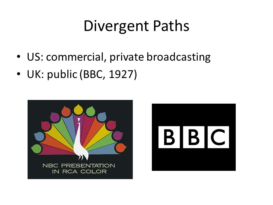 Divergent Paths US: commercial, private broadcasting UK: public (BBC, 1927)