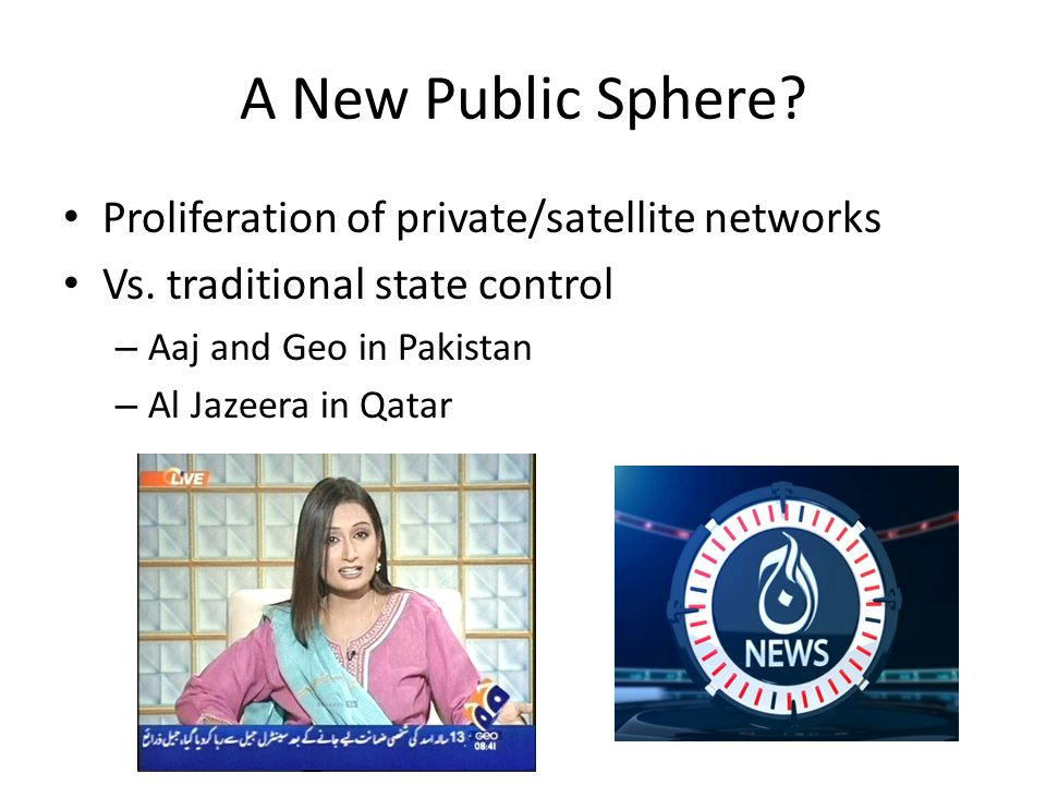 A New Public Sphere. Proliferation of private/satellite networks Vs.