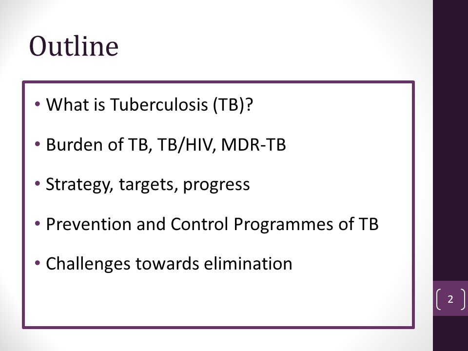 Number of MDR-TB cases, 2011 23 Russian Federation 44,000 (14% of global MDR burden) China 61,000 (20% of global MDR burden) India 66,000 (21% of global MDR burden) South Africa 8,100 Based on survey data Pakistan 10,000 (3% of global MDR burden) Ukraine 9,000 Based on survey data