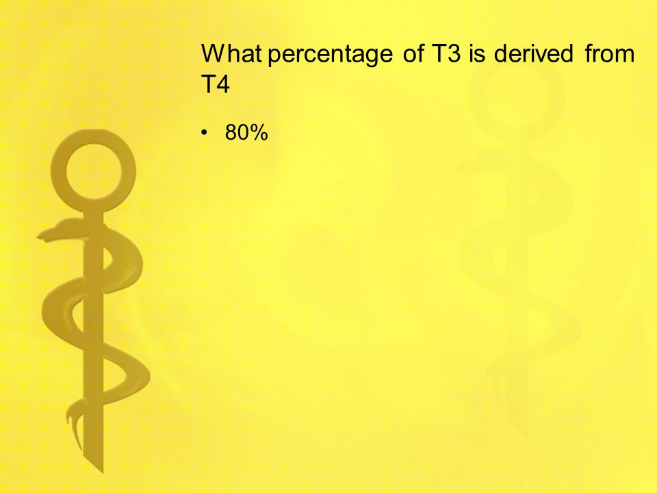 What percentage of T3 is derived from T4 80%