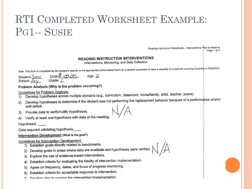 RTI C OMPLETED W ORKSHEET E XAMPLE : P G 1-- S USIE