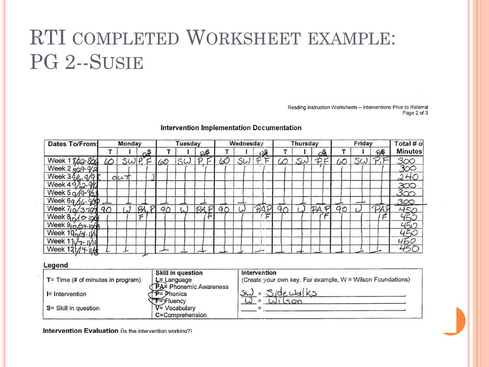 RTI COMPLETED W ORKSHEET EXAMPLE : PG 2--S USIE