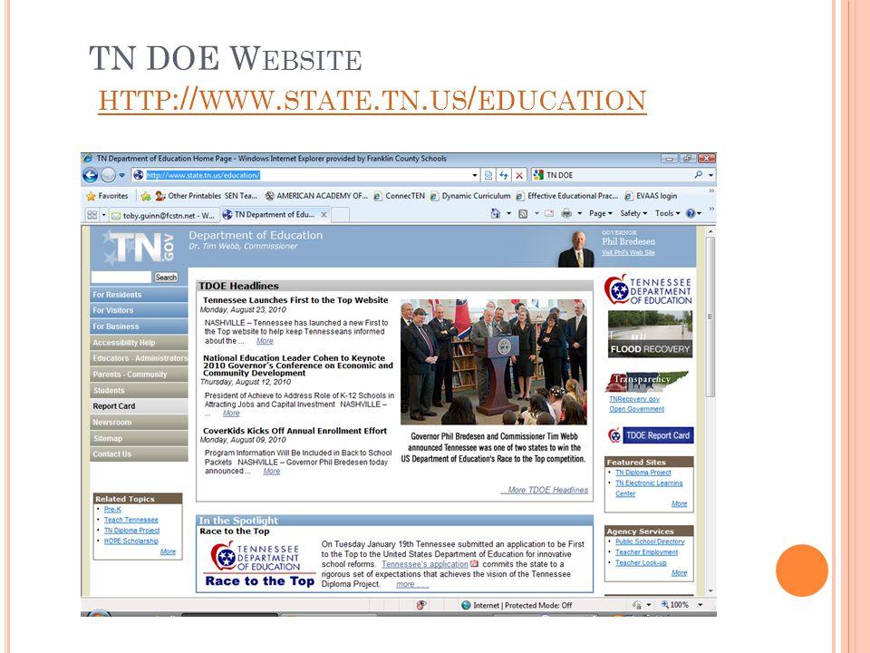 TN DOE W EBSITE HTTP :// WWW. STATE. TN. US / EDUCATION HTTP :// WWW. STATE. TN. US / EDUCATION