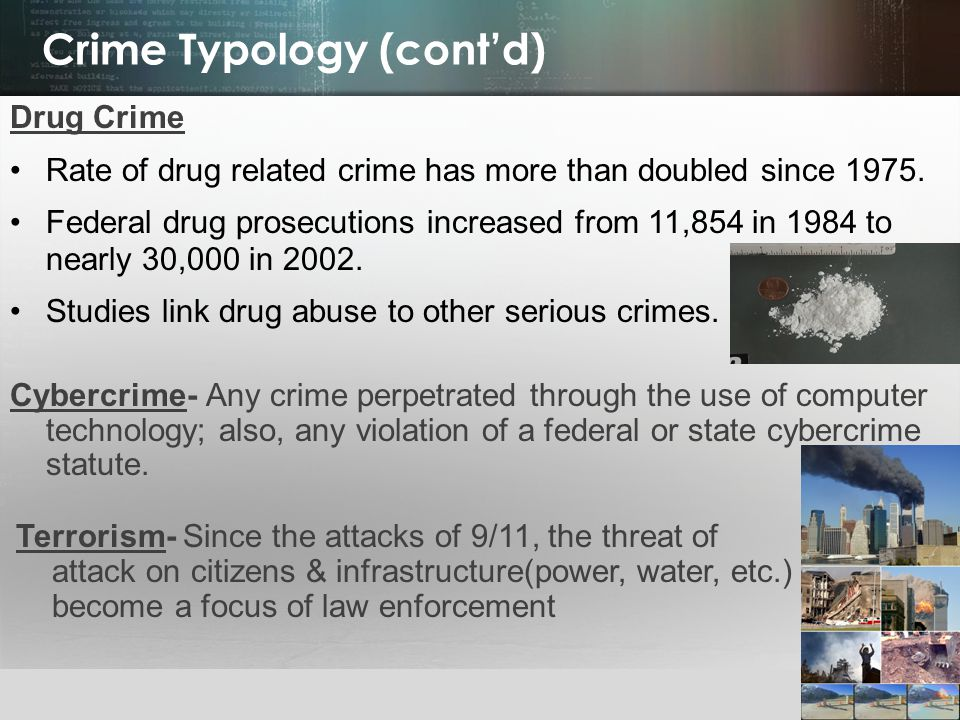 © 2013 by Pearson Higher Education, Inc Upper Saddle River, New Jersey 07458 All Rights Reserved Crime Typology (cont'd) Drug Crime Rate of drug related crime has more than doubled since 1975.