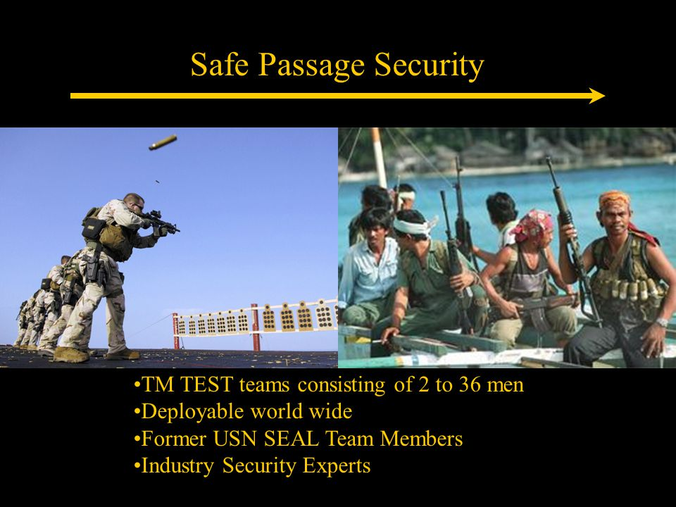 Safe Passage Security TM TEST teams consisting of 2 to 36 men Deployable world wide Former USN SEAL Team Members Industry Security Experts