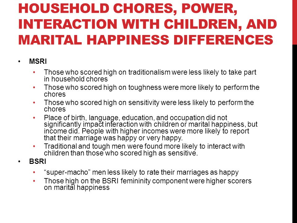 HOUSEHOLD CHORES, POWER, INTERACTION WITH CHILDREN, AND MARITAL HAPPINESS DIFFERENCES MSRI Those who scored high on traditionalism were less likely to take part in household chores Those who scored high on toughness were more likely to perform the chores Those who scored high on sensitivity were less likely to perform the chores Place of birth, language, education, and occupation did not significantly impact interaction with children or marital happiness, but income did.