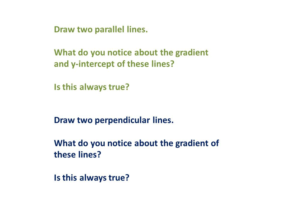 Draw two parallel lines. What do you notice about the gradient and y-intercept of these lines.