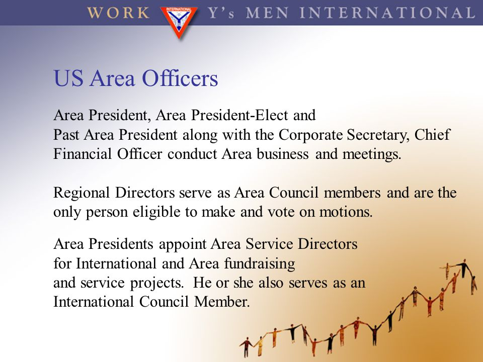 US Area Officers Area President, Area President-Elect and Past Area President along with the Corporate Secretary, Chief Financial Officer conduct Area