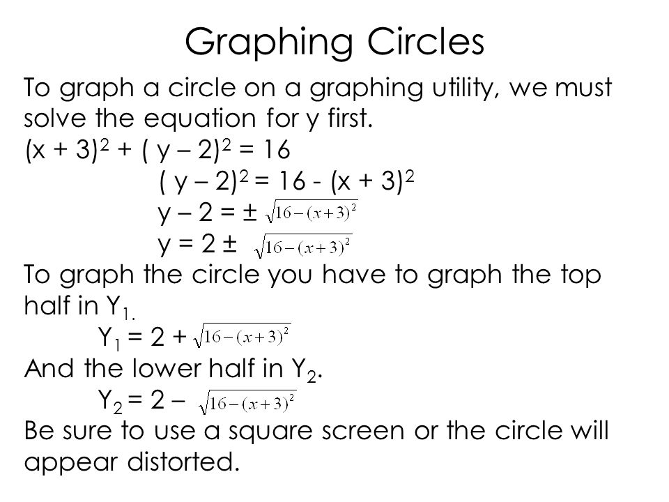 Graphing Circles To graph a circle on a graphing utility, we must solve the equation for y first.