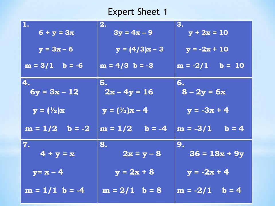 1. 6 + y = 3x y = 3x – 6 m = 3/1 b = -6 2. 3y = 4x – 9 y = (4/3)x – 3 m = 4/3 b = -3 3.