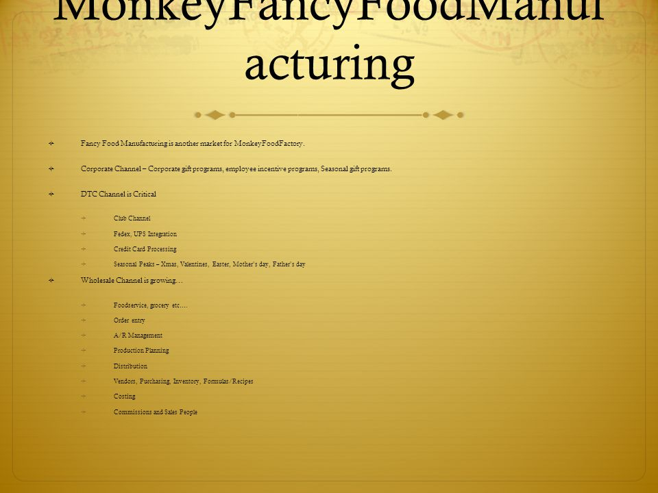 MonkeyFancyFoodManuf acturing  Fancy Food Manufacturing is another market for MonkeyFoodFactory.