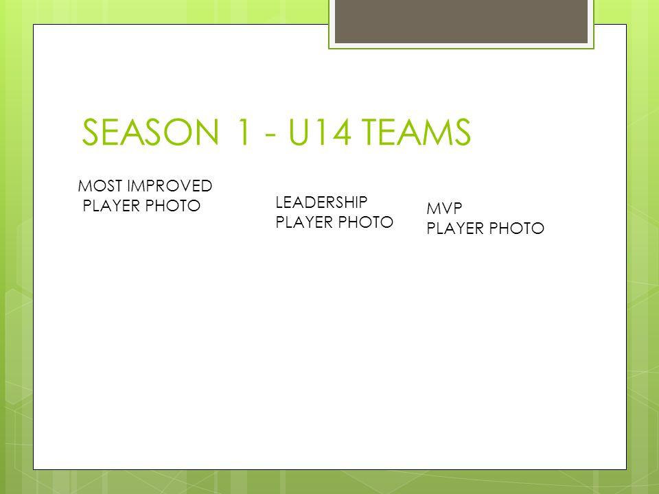 SEASON 1 - U14 TEAMS MOST IMPROVED PLAYER PHOTO LEADERSHIP PLAYER PHOTO MVP PLAYER PHOTO