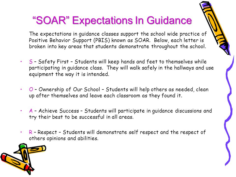 The expectations in guidance classes support the school wide practice of Positive Behavior Support (PBIS) known as SOAR.