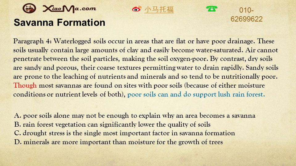 小马托福 010- 62699622 Savanna Formation Paragraph 4: Waterlogged soils occur in areas that are flat or have poor drainage.