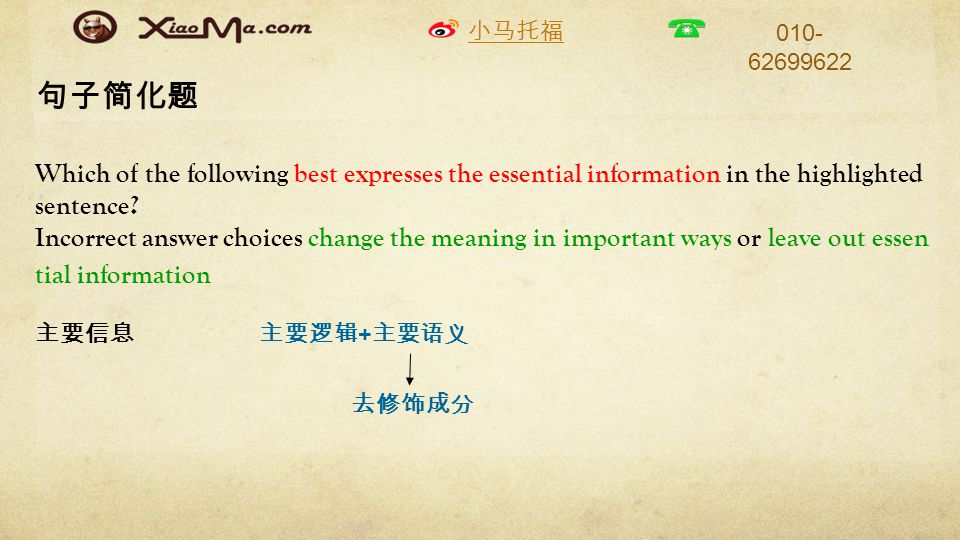 小马托福 010- 62699622 句子简化题 Which of the following best expresses the essential information in the highlighted sentence.
