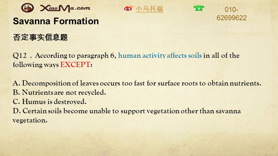 小马托福 010- 62699622 Savanna Formation 否定事实信息题 Q12 . According to paragraph 6, human activity affects soils in all of the following ways EXCEPT: A.