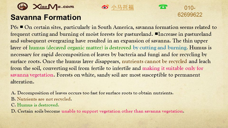 小马托福 010- 62699622 Savanna Formation P6: ■ On certain sites, particularly in South America, savanna formation seems related to frequent cutting and burning of moist forests for pastureland.