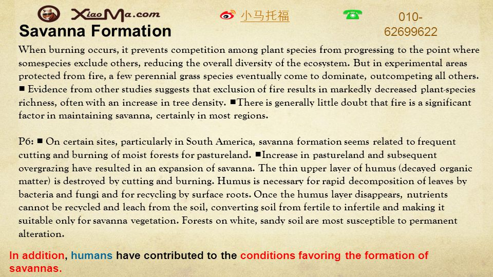小马托福 010- 62699622 Savanna Formation When burning occurs, it prevents competition among plant species from progressing to the point where somespecies exclude others, reducing the overall diversity of the ecosystem.