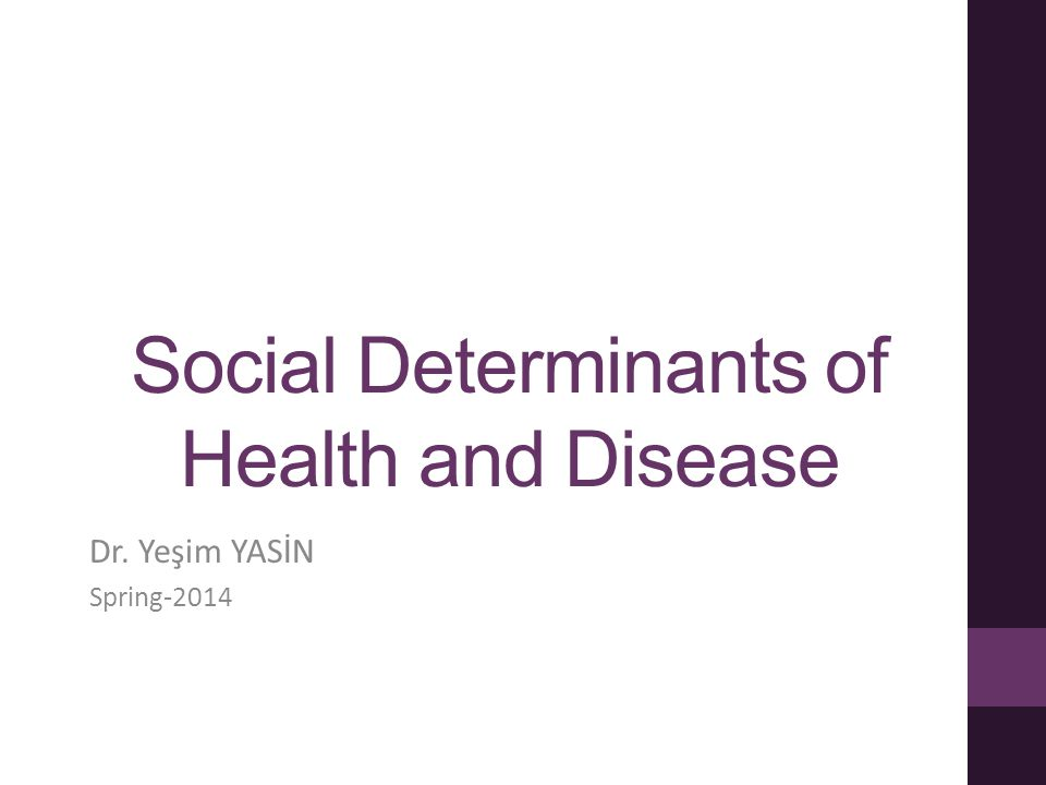 Outline Determinants of health Social determinants of health Basic social determinants Equality and equity in health