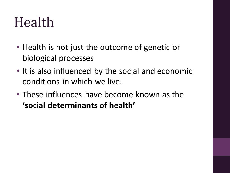 Key points-1 Social determinants of health refer to the social, economic, political, legal and material factors that affect health and cause disease.
