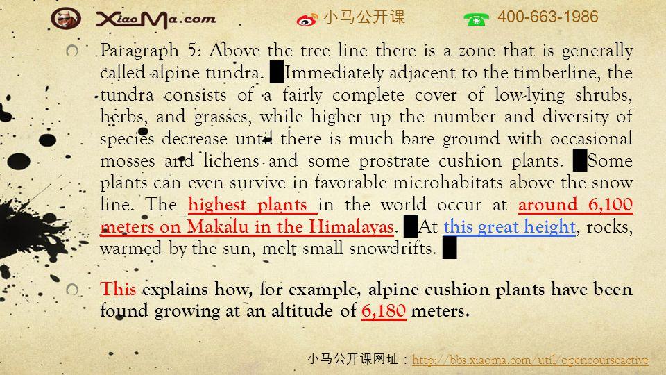 小马公开课 400-663-1986 小马公开课网址: http://bbs.xiaoma.com/util/opencourseactive http://bbs.xiaoma.com/util/opencourseactive Paragraph 5: Above the tree line there is a zone that is generally called alpine tundra.