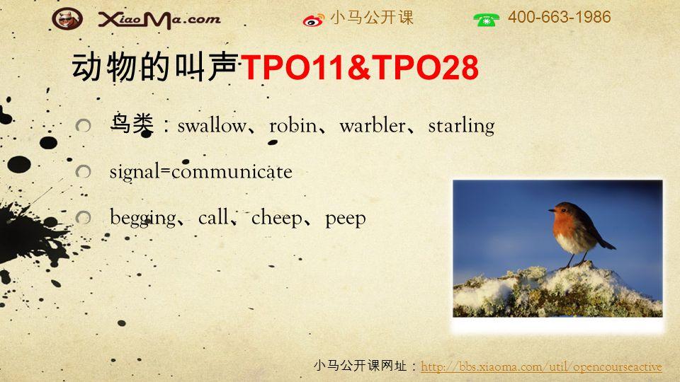 小马公开课 400-663-1986 小马公开课网址: http://bbs.xiaoma.com/util/opencourseactive http://bbs.xiaoma.com/util/opencourseactive 动物的叫声 TPO11&TPO28 鸟类: swallow 、 robin 、 warbler 、 starling signal=communicate begging 、 call 、 cheep 、 peep