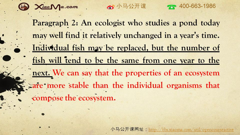 小马公开课 400-663-1986 小马公开课网址: http://bbs.xiaoma.com/util/opencourseactive http://bbs.xiaoma.com/util/opencourseactive 夏威夷的植物 TPO9 lichen : symbiosis 、 fungus ( fungi ) +alga ( algae )、 spore fern + moss : spore seed-bearing plant 种子植物: angiosperm 被子植物、 seed 、 blooming plant 开花植物 共性:通过风传播 spore 或 seed deciduous plant 、 herb 、 shrub