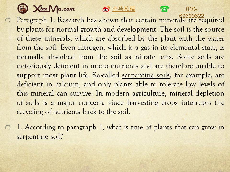 小马托福 010- 62699622 Paragraph 1: Research has shown that certain minerals are required by plants for normal growth and development.