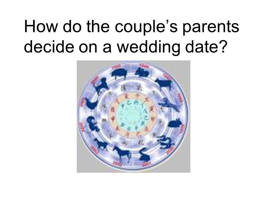 How do the couple's parents decide on a wedding date