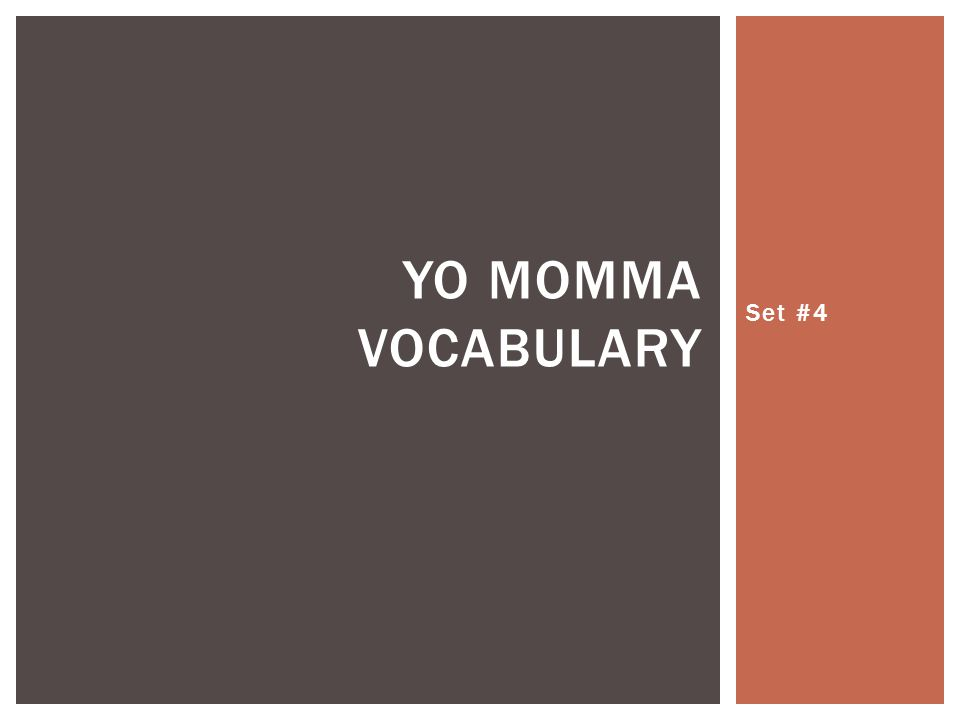 Set #4 YO MOMMA VOCABULARY