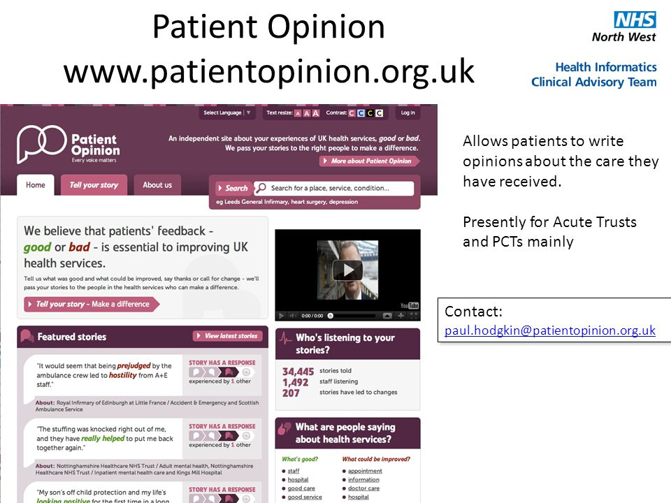 Patient Opinion www.patientopinion.org.uk Allows patients to write opinions about the care they have received.