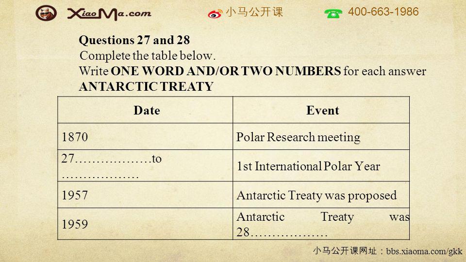 小马公开课 400-663-1986 小马公开课网址: bbs.xiaoma.com/gkk DateEvent 1870Polar Research meeting 27………………to ……………… 1st International Polar Year 1957Antarctic Treaty was proposed 1959 Antarctic Treaty was 28……………… Questions 27 and 28 Complete the table below.