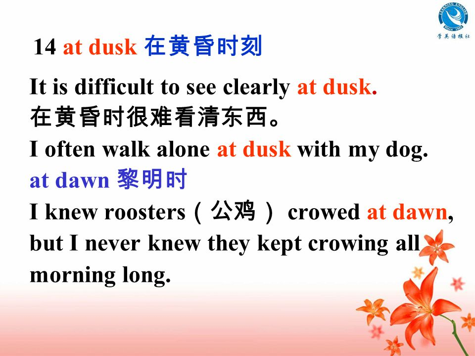 It is difficult to see clearly at dusk. 在黄昏时很难看清东西。 I often walk alone at dusk with my dog.