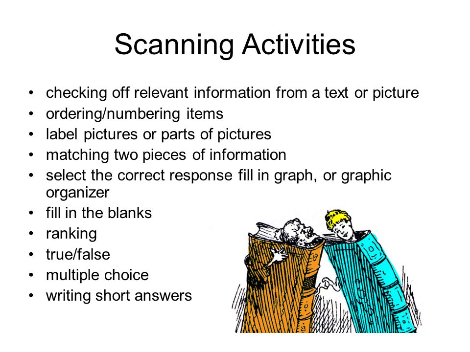 Scanning Activities checking off relevant information from a text or picture ordering/numbering items label pictures or parts of pictures matching two