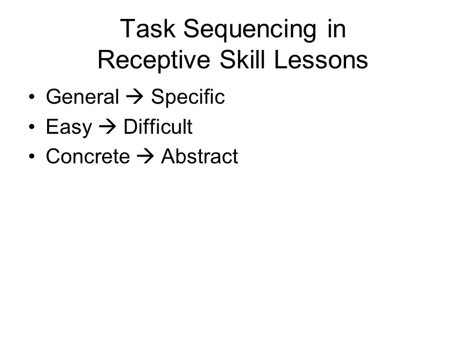 Task Sequencing in Receptive Skill Lessons General  Specific Easy  Difficult Concrete  Abstract