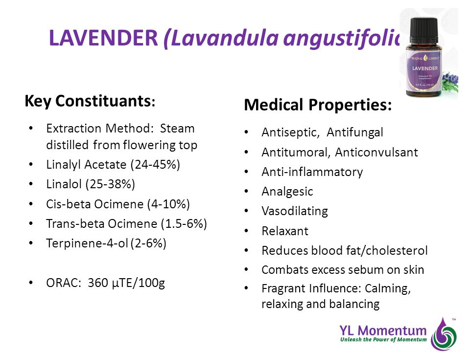LAVENDER (Lavandula angustifolia) Key Constituants : Extraction Method: Steam distilled from flowering top Linalyl Acetate (24-45%) Linalol (25-38%) Cis-beta Ocimene (4-10%) Trans-beta Ocimene (1.5-6%) Terpinene-4-ol (2-6%) ORAC: 360 µTE/100g Medical Properties: Antiseptic, Antifungal Antitumoral, Anticonvulsant Anti-inflammatory Analgesic Vasodilating Relaxant Reduces blood fat/cholesterol Combats excess sebum on skin Fragrant Influence: Calming, relaxing and balancing