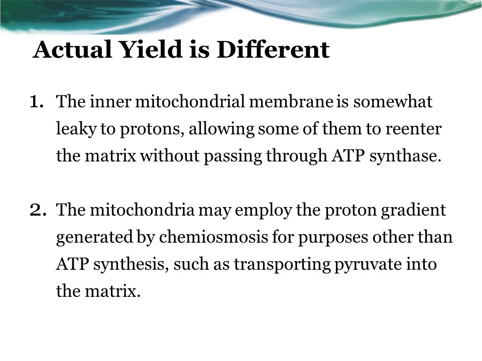 Actual Yield is Different 1.