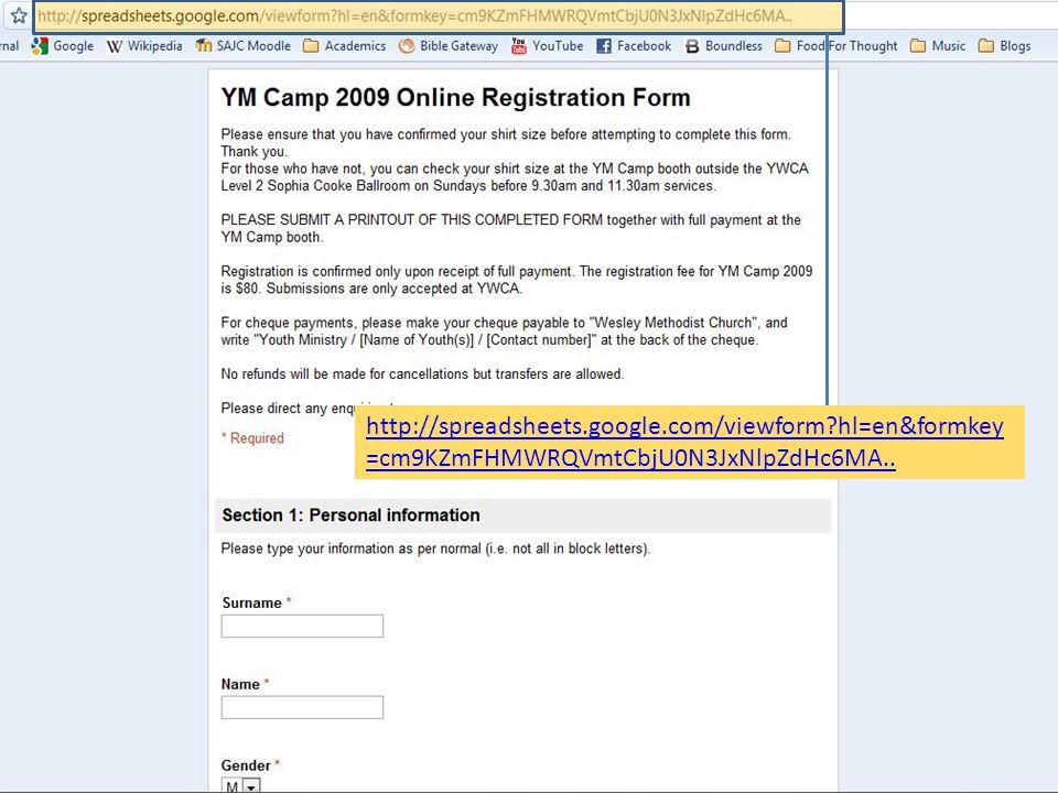 http://spreadsheets.google.com/viewform?hl=en&formkey =cm9KZmFHMWRQVmtCbjU0N3JxNlpZdHc6MA..
