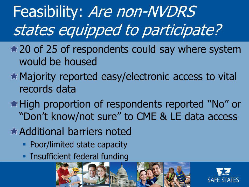 20 of 25 of respondents could say where system would be housed Majority reported easy/electronic access to vital records data High proportion of respondents reported No or Don't know/not sure to CME & LE data access Additional barriers noted  Poor/limited state capacity  Insufficient federal funding Feasibility: Are non-NVDRS states equipped to participate