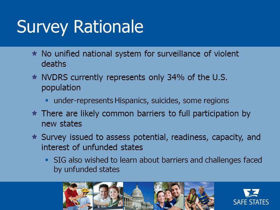 Survey Rationale No unified national system for surveillance of violent deaths NVDRS currently represents only 34% of the U.S.