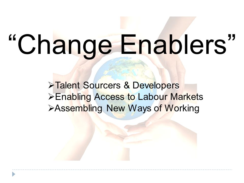 Change Enablers  Talent Sourcers & Developers  Enabling Access to Labour Markets  Assembling New Ways of Working