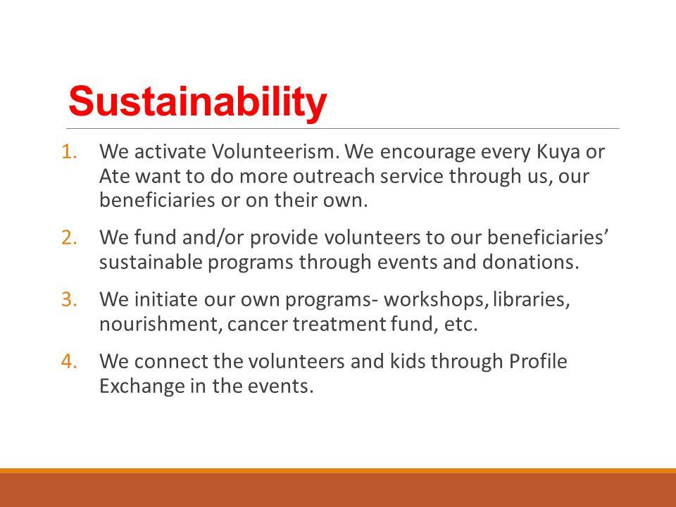 Sustainability 1.We activate Volunteerism.